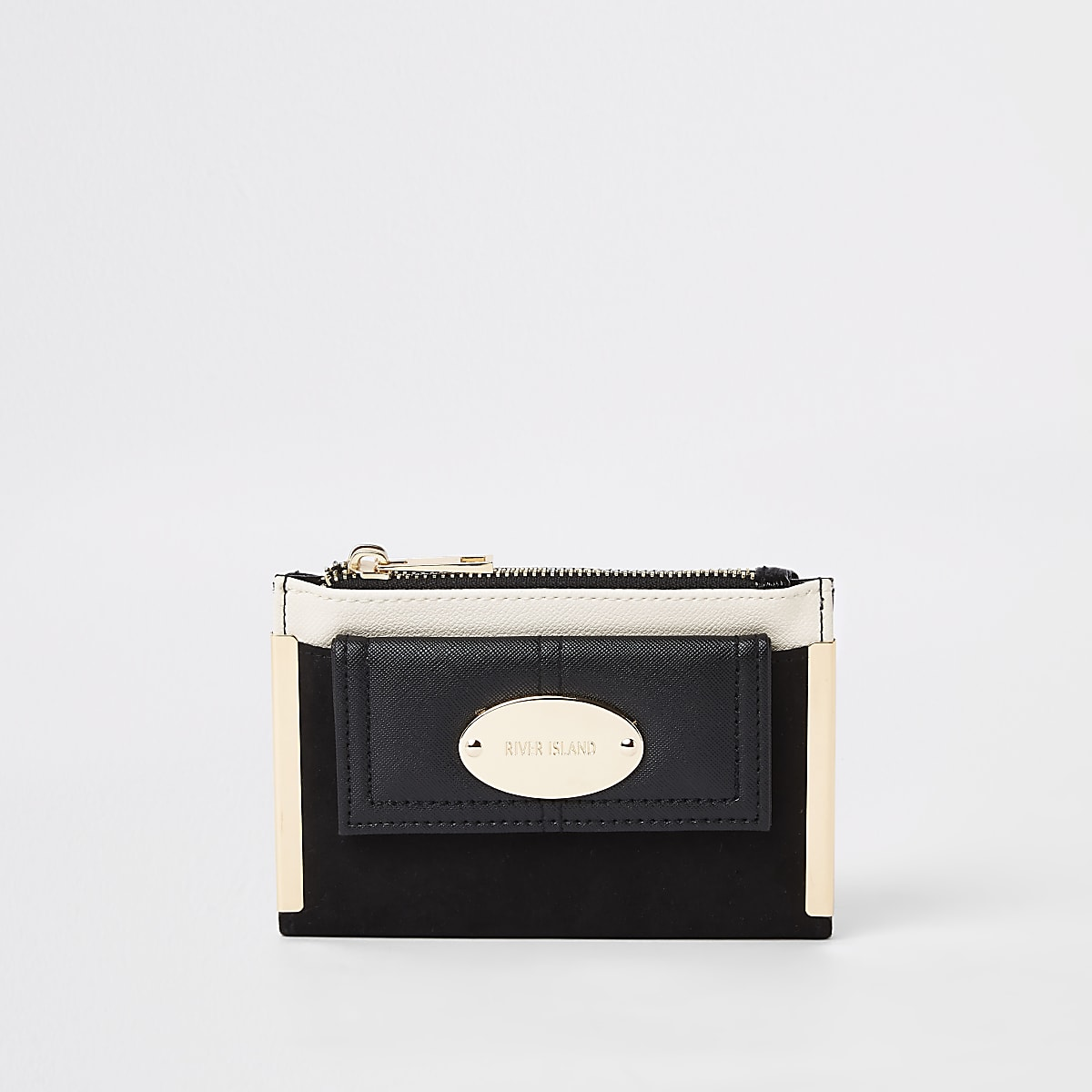 Mini porte-monnaie noir à rabat avec poche avant