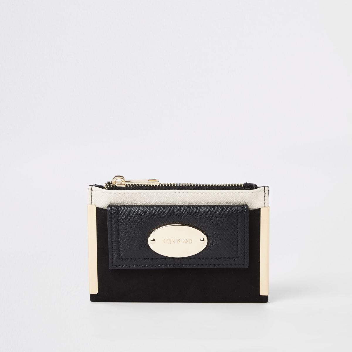 Zwarte kleine uitvouwbare portemonnee met voorvakje