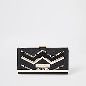 Black zig zag detail cliptop purse