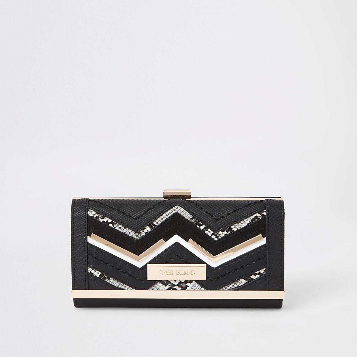 Porte-monnaie noir avec fermoir clip et détail zigzag