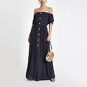Marineblauwe maxi-jurk in bardotstijl met knopen