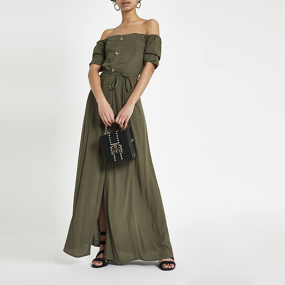 Khaki bardot button through maxi dress