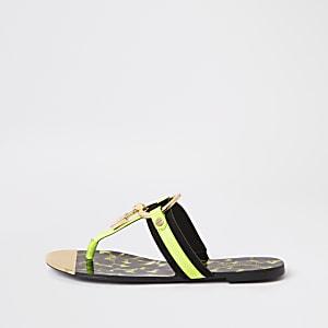 Neon green padlock flat sandal