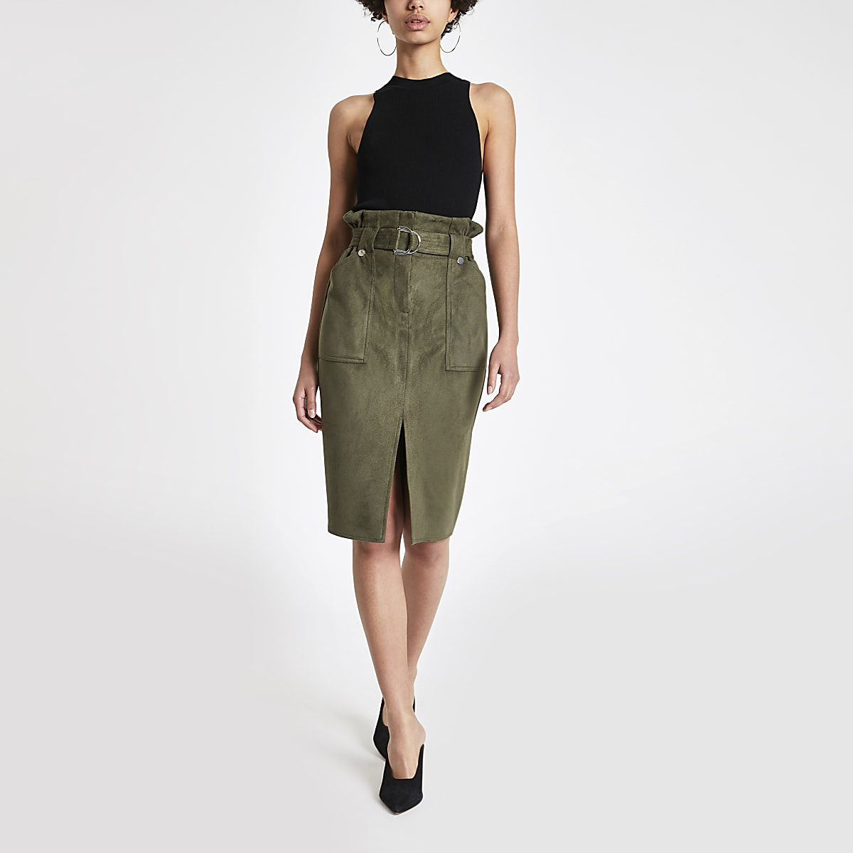 0053a73be Khaki faux suede paperbag pencil skirt - Midi Skirts - Skirts - women