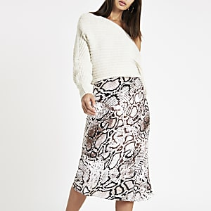 Grey snake print bias cut midi skirt