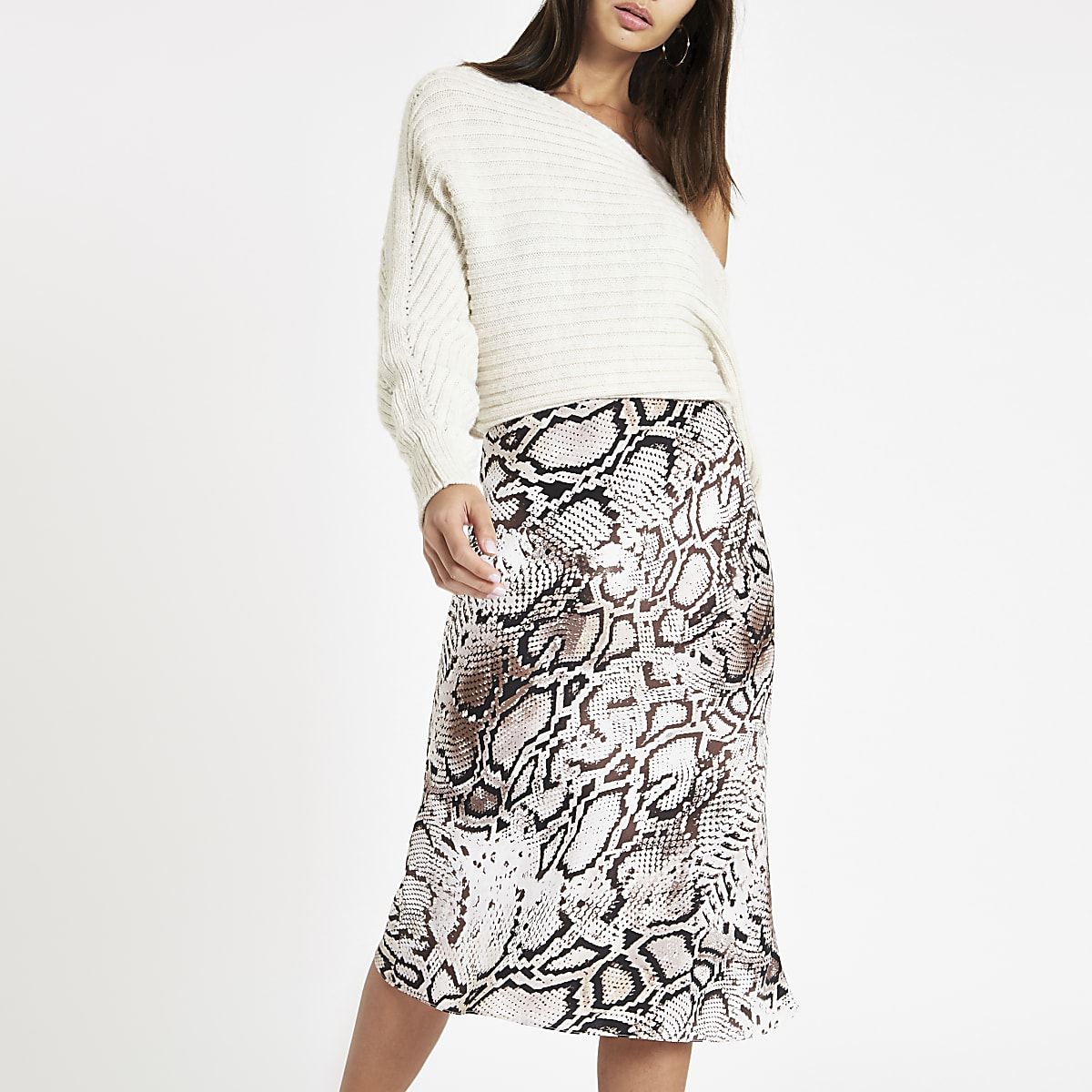 Grey snake print bias cut midi skirt