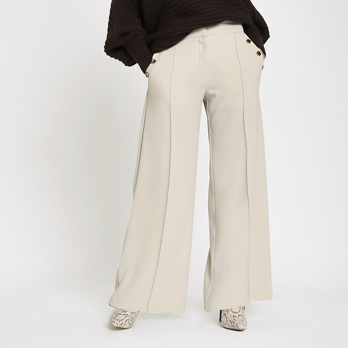 Light grey button pocket wide leg trousers