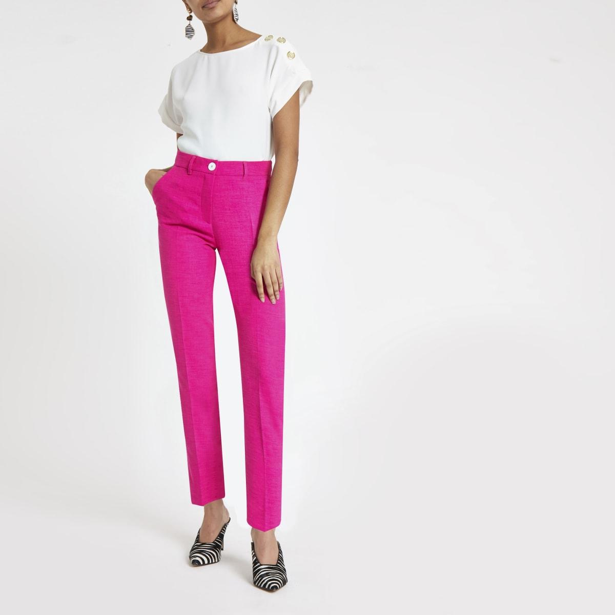 Pantalon cigarette rose