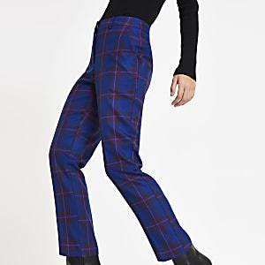 Dark blue tartan check cigarette trousers