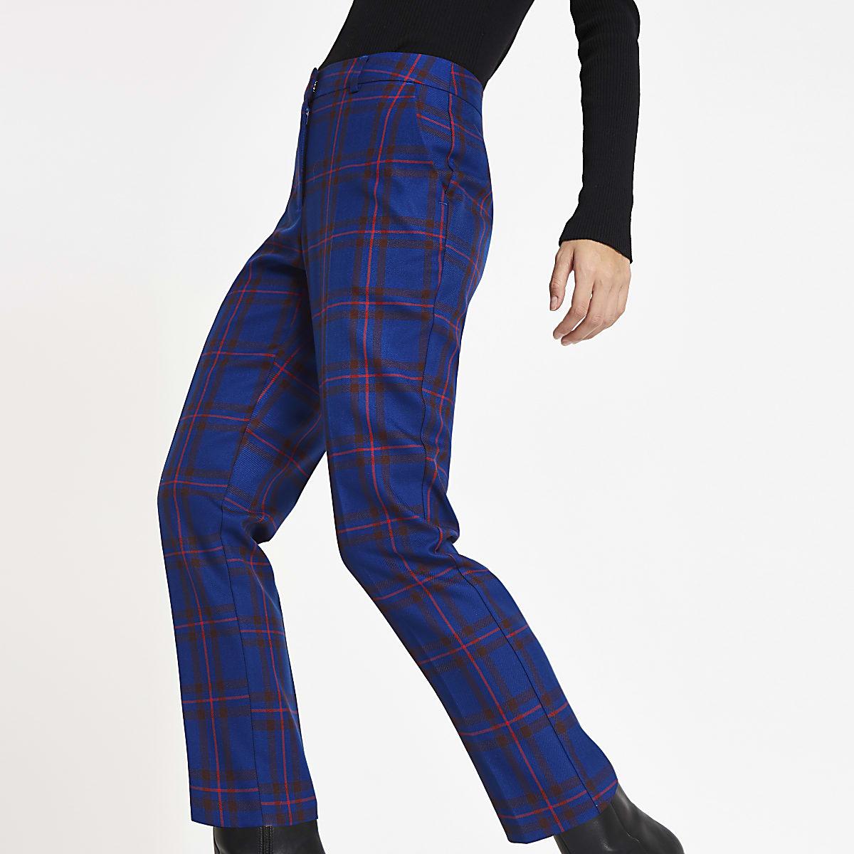Dark blue plaid check cigarette pants