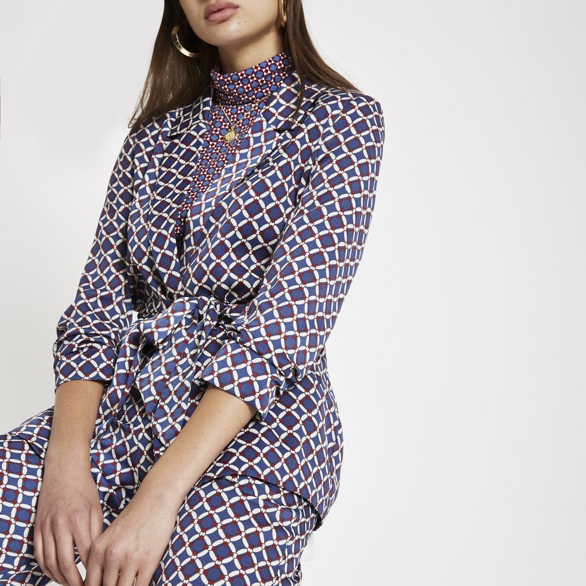 Blue geo print belted blazer