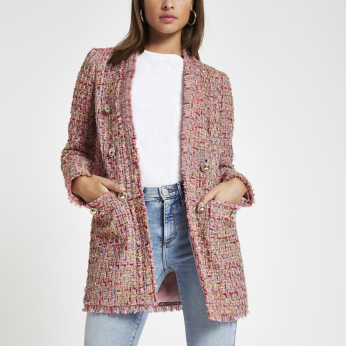 Pink check boucle jacket