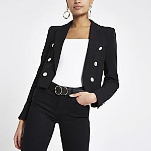 Black button front cropped blazer