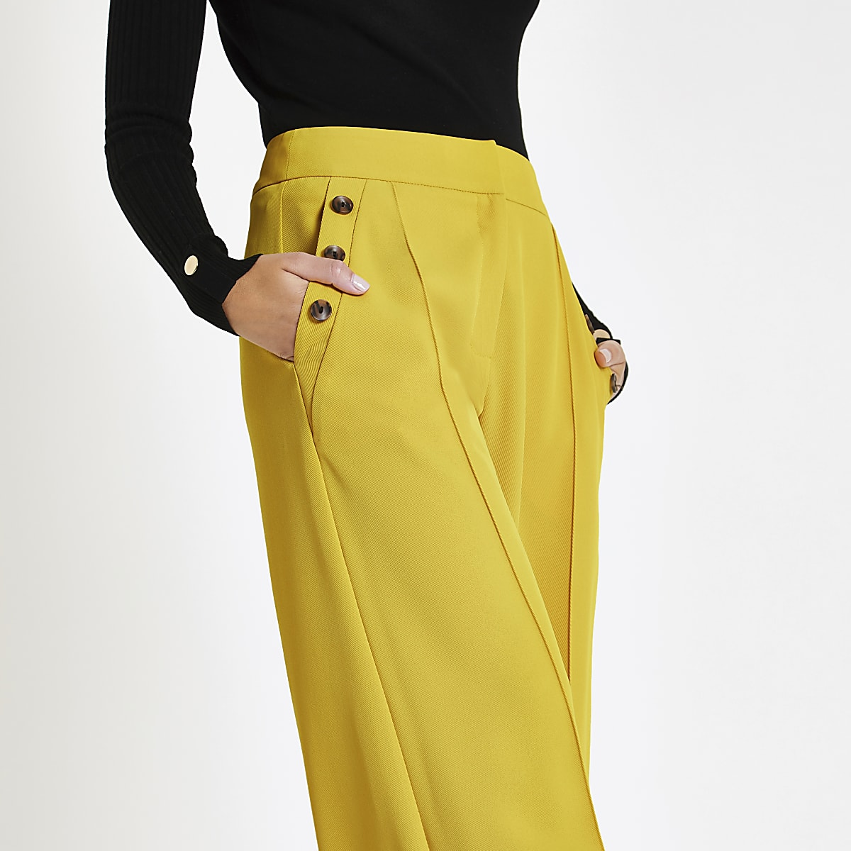 Yellow button pocket wide leg trousers
