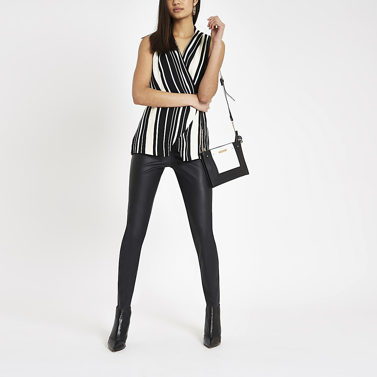 f74e51f155c693 Black stripe wrap over sleeveless top - Blouses - Tops - women