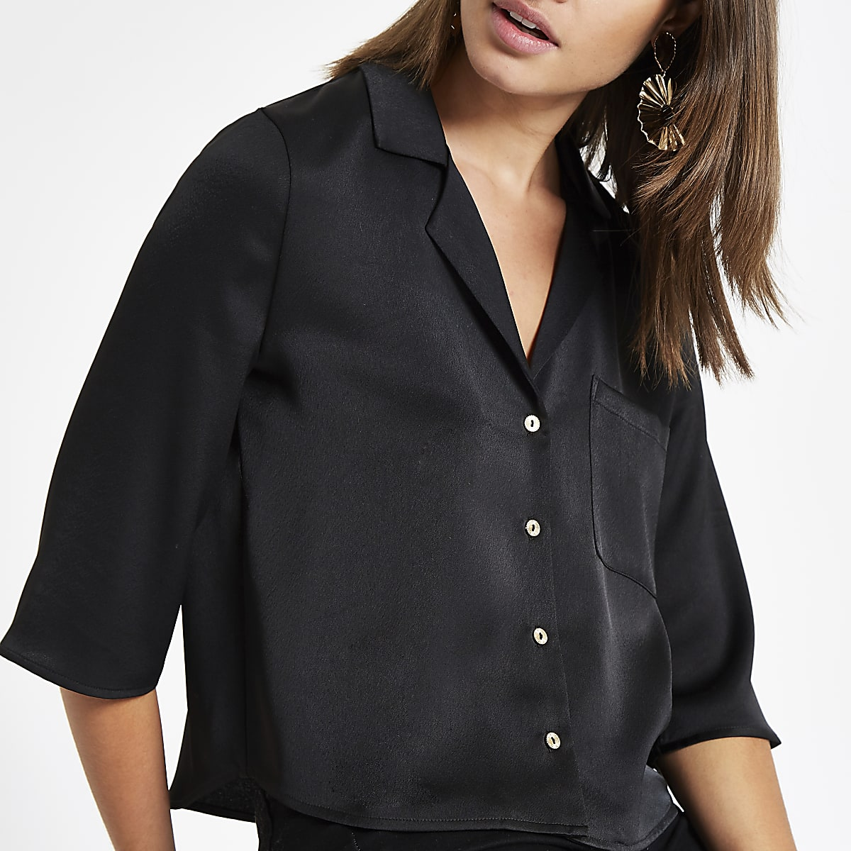 Black button crop shirt