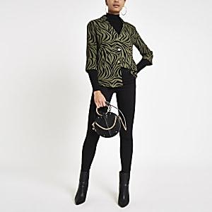 Khaki tiger print bar back blouse