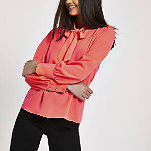 Neon pink tie neck loose fit blouse