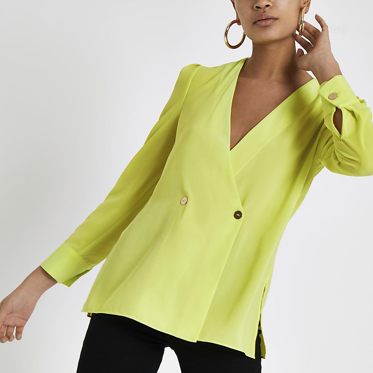 Bright green button detail blouse