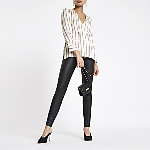 White chain print button blouse