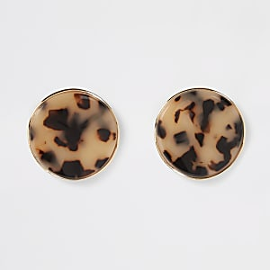 Brown tortoise shell oversized studs