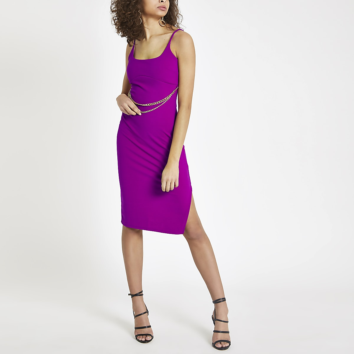 Purple chain belt bodycon midi dress