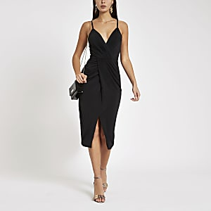 Black twist front midi dress