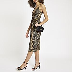Bruine midi-jurk met slangenprint en gedraaide voorzijde
