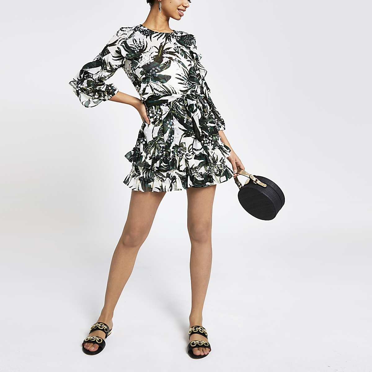 Green palm print sequin playsuit