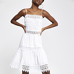 White embroidered slip dress