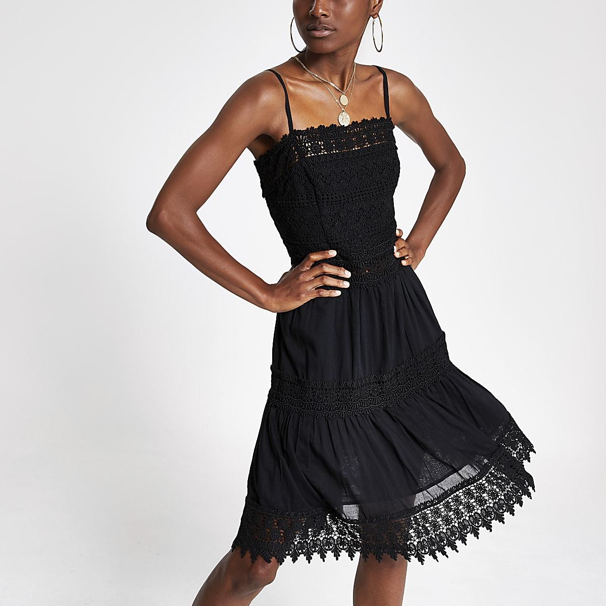 Black embroidered slip dress