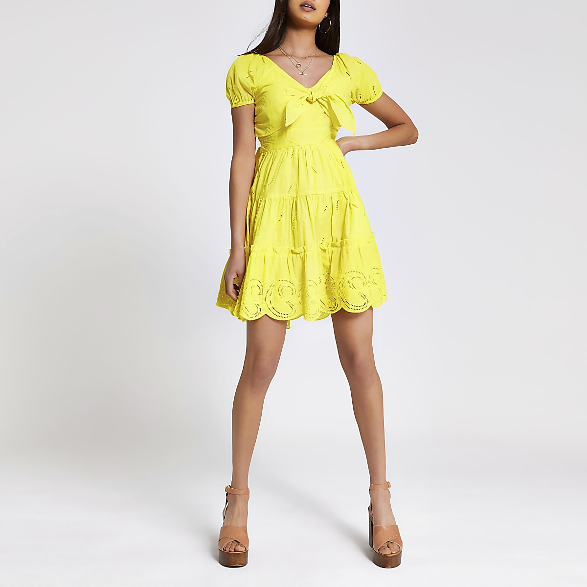 Yellow embroidered bow front dress