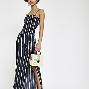 Navy stripe button down maxi slip dress