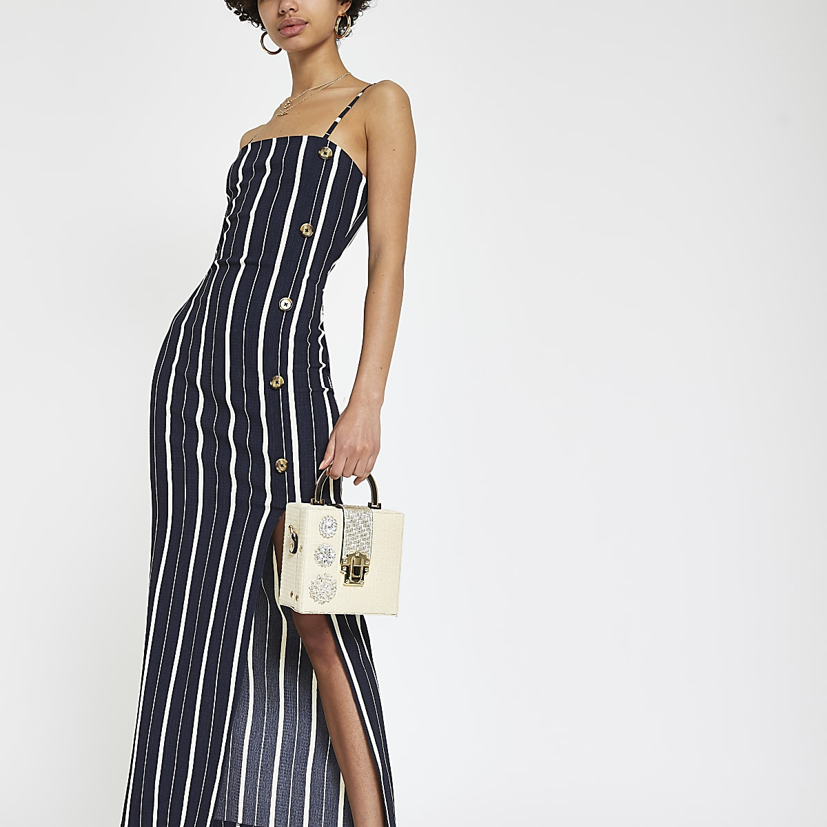 Navy stripe button through maxi slip dress