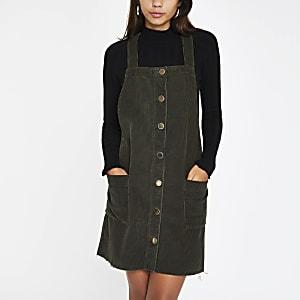 Khaki cord overall dress