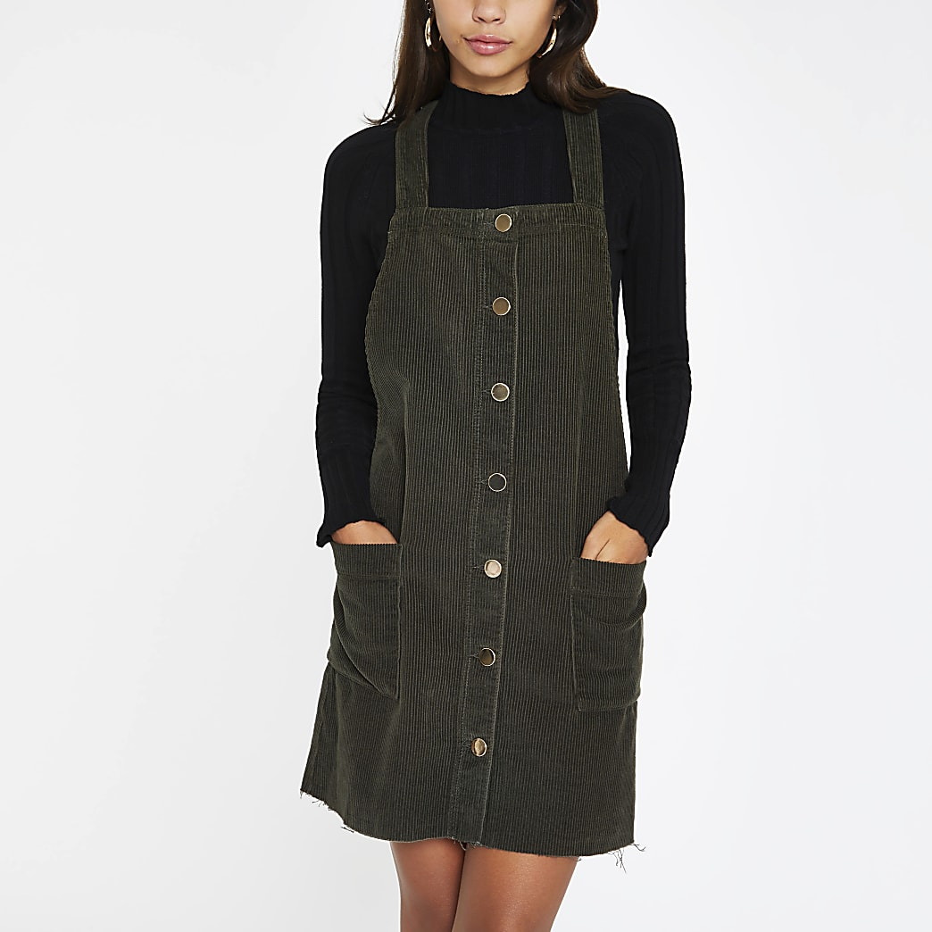Khaki cord dungaree dress