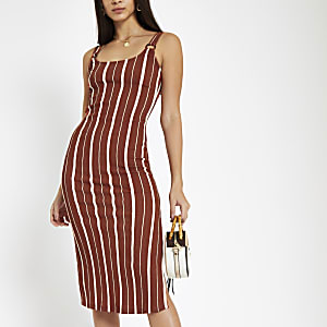 Orange stripe bodycon midi dress