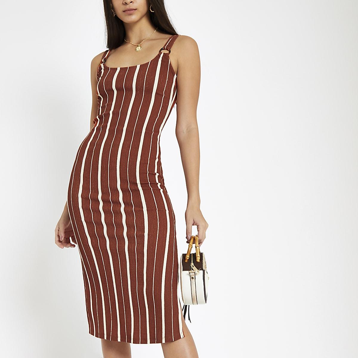 Orange stripe bodycon midi dress
