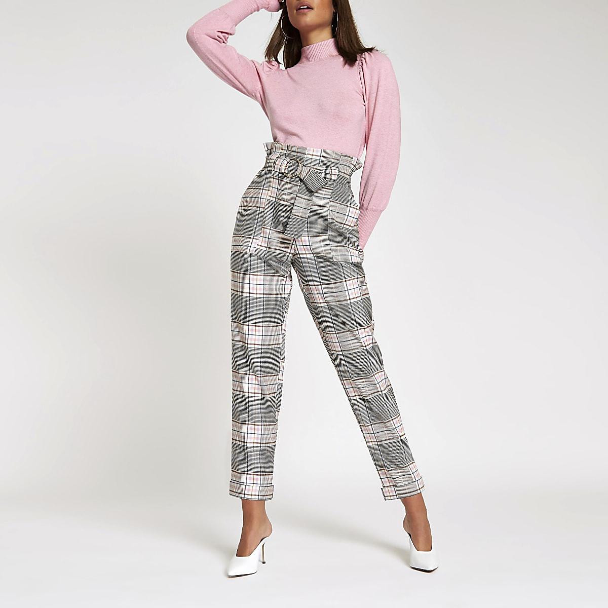 Pink check paperbag ring belt peg pants