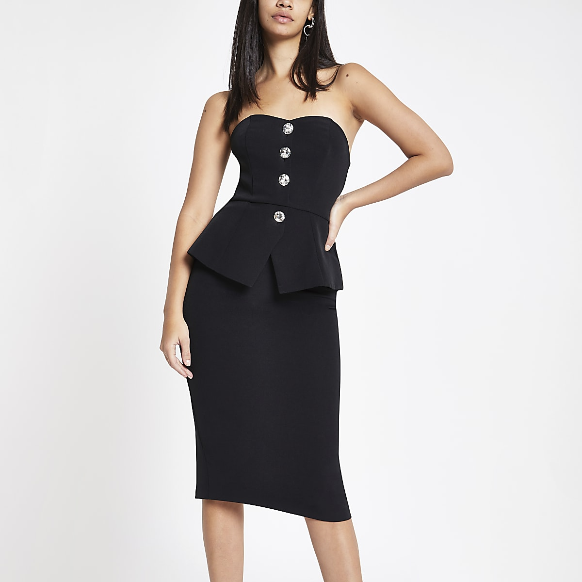 Black peplum midi bodycon dress
