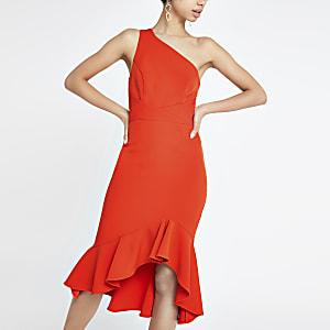 Robe ajustée asymétrique rouge vif