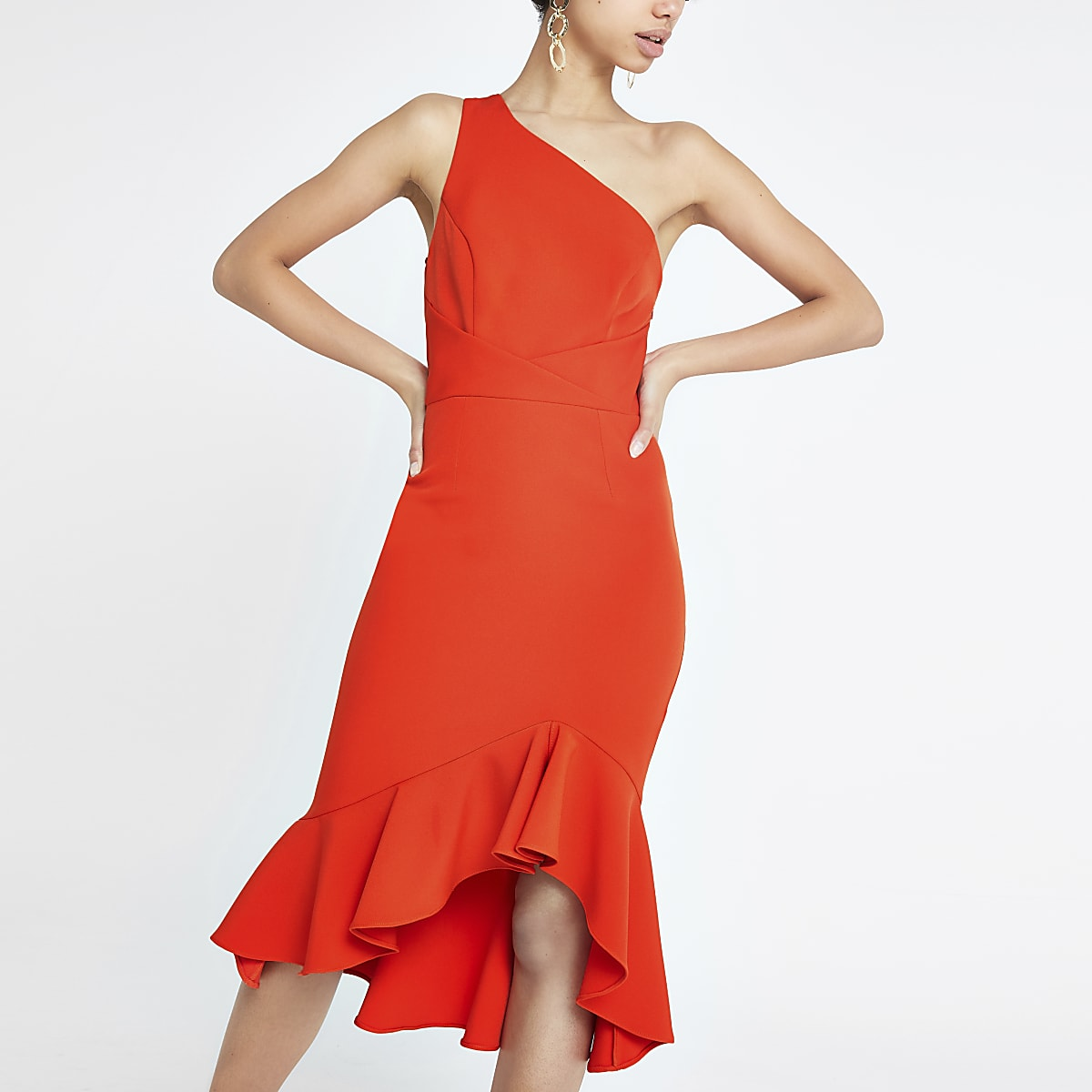 Bright red one shoulder bodycon dress