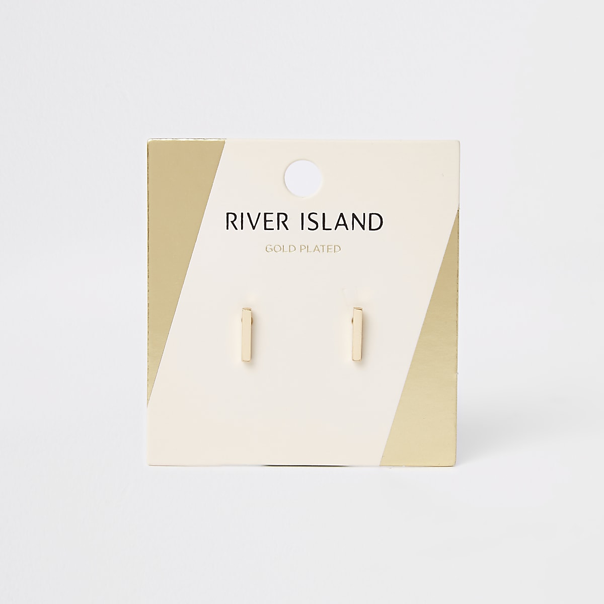Gold colour bar stud earrings