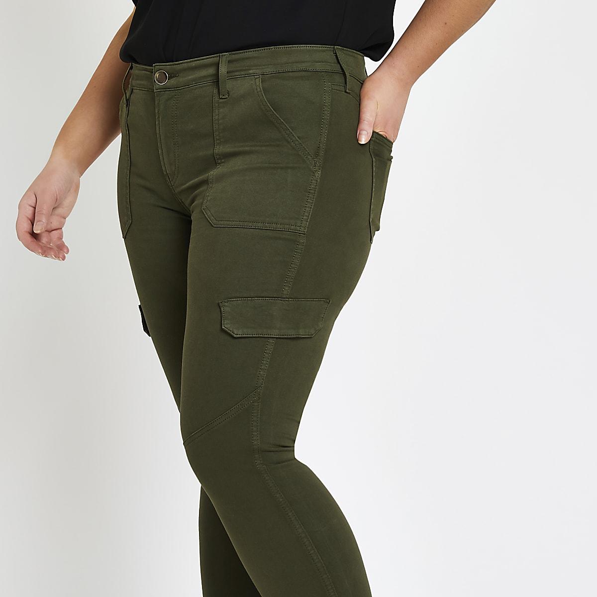 Plus khaki Amelie super skinny utility jeans