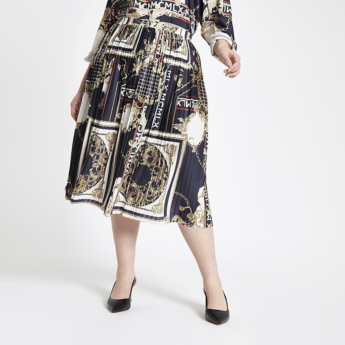 Plus navy baroque pleated skirt