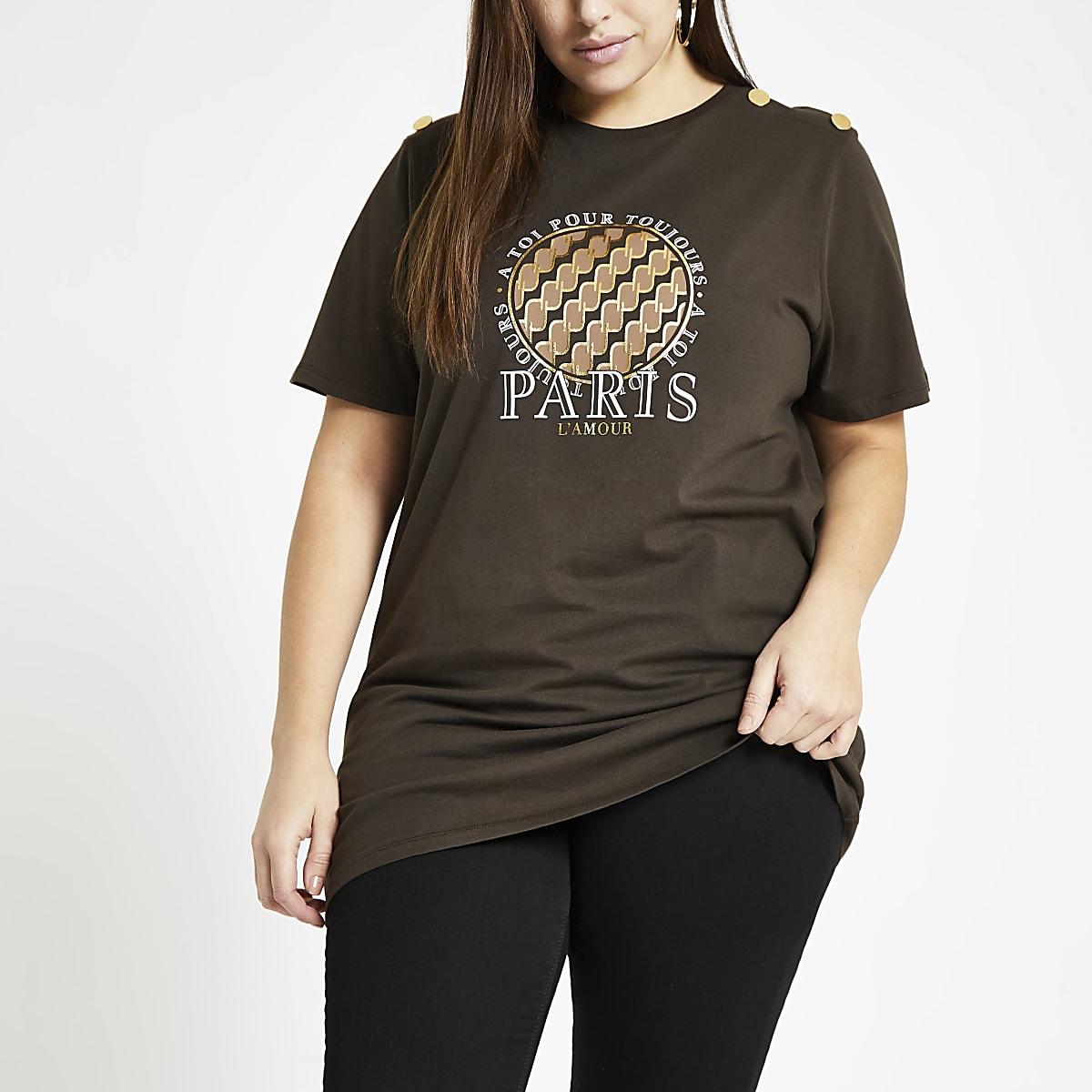 Plus brown 'Paris l'amour' print T-shirt