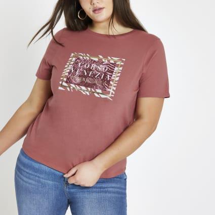 Plus red 'Corso venezia' print T-shirt