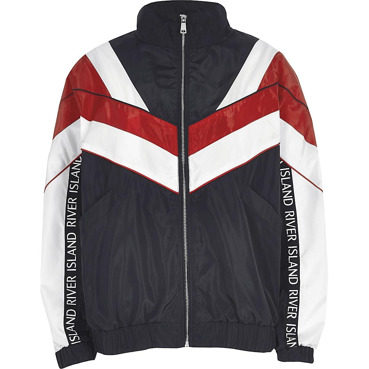 aa773db92 Navy block high neck track jacket