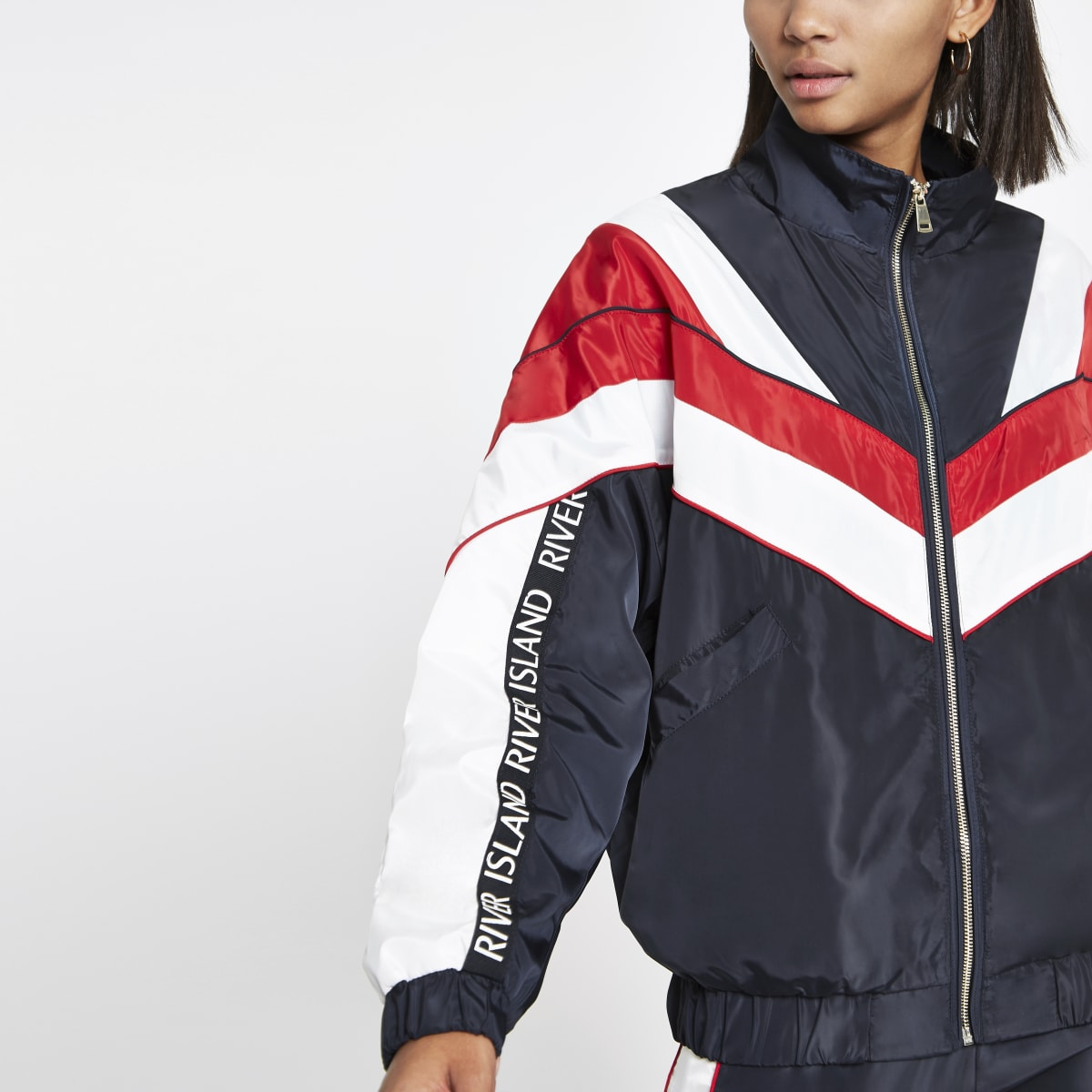 Navy block high neck track jacket