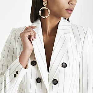 Cream stripe tailored blazer